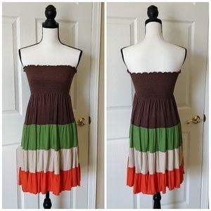 Poetry color block smocked mini dress/skirt sz M